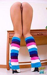 Bending Over Desk Nice Ass Wearing Socks In High Heels