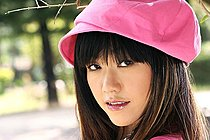 Breasty Jenny Lee Strips Pink Top And White Shorts Outdoors