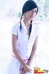 Yoko In White Dress Hands Crossed