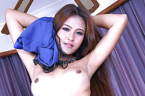 Beauty Hannah Lee strips blue dress in fishnet stockings