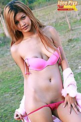 June Piya Playing With Her Panties Long Hair Bra Straps Down