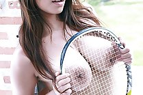 Busty Tennis Player Garfield Jantra Strips Shorts And Poses Nude