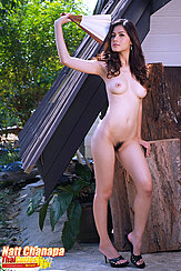 Naked Holding Fan Long Hair Bare Breasts Pussy Hair High Heels