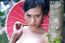 Small tits cutie Focus Wan strips under parasol in high heels