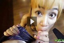 LBFM Jean in high heels on her knees sucking cock and balls